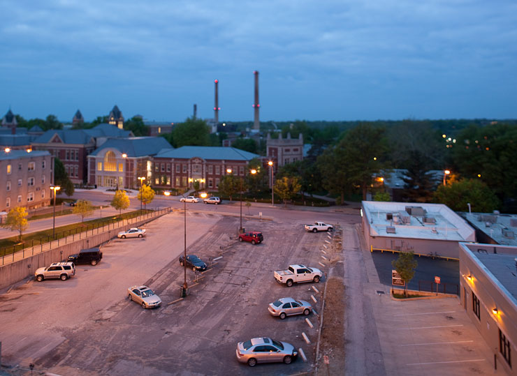 View of Reynolds Journalism Institute and the smoke stacks.  5D Mark II and 24mm f/3.5 L TS-E lens