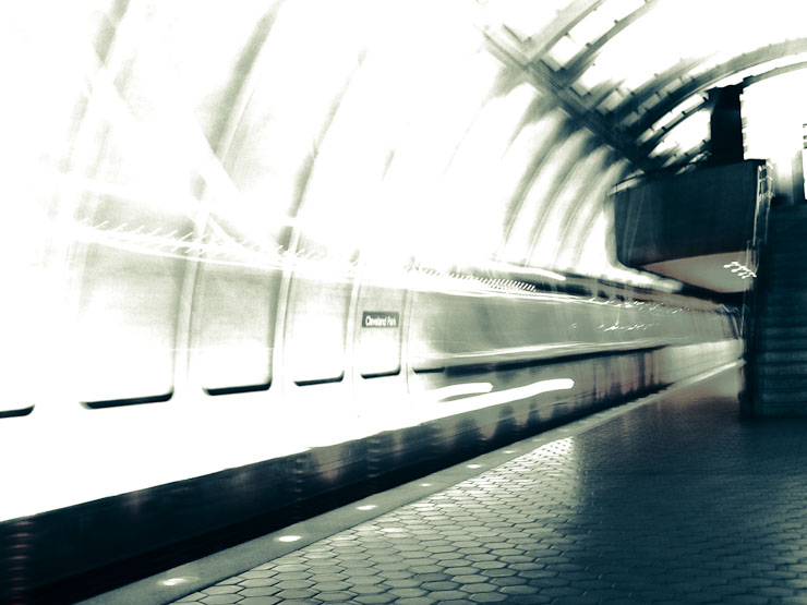 Metro train blur, duotone.