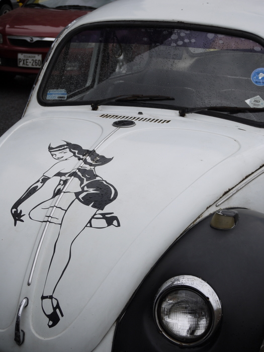 Betty Page on a VW Bug.