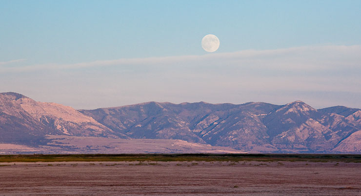 Moonrise over Bear River Migratory Bird Refuge, Brigham City, Utah.  Canon 5D Mark II and 70-200mm f/4 L IS lens; exposed 1/400 sec. @ f/11, ISO 800.