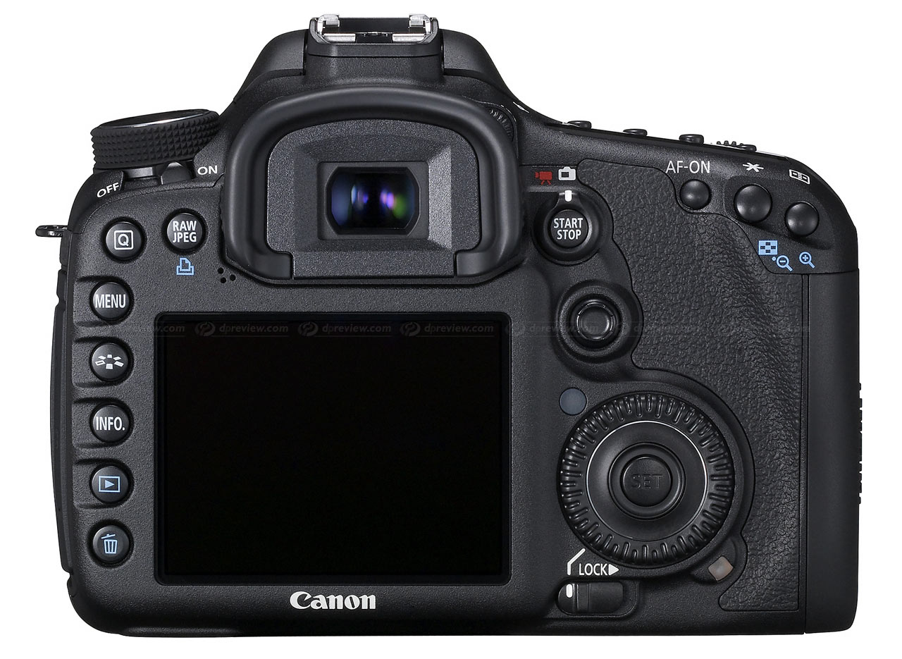 Rear view of the Canon 7D announced today.  Image from DPReview.com.