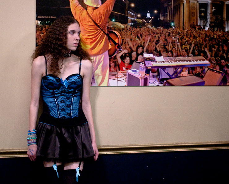 Jamie Echols waits for her friends to arrive before the start of the Bassnectar concert at the Blue Note on Friday, Nov. 20, 2009, in Columbia, Mo.