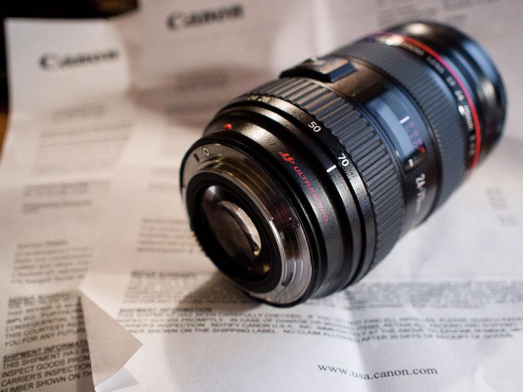 Canon 24-70mm lens and repair paperwork