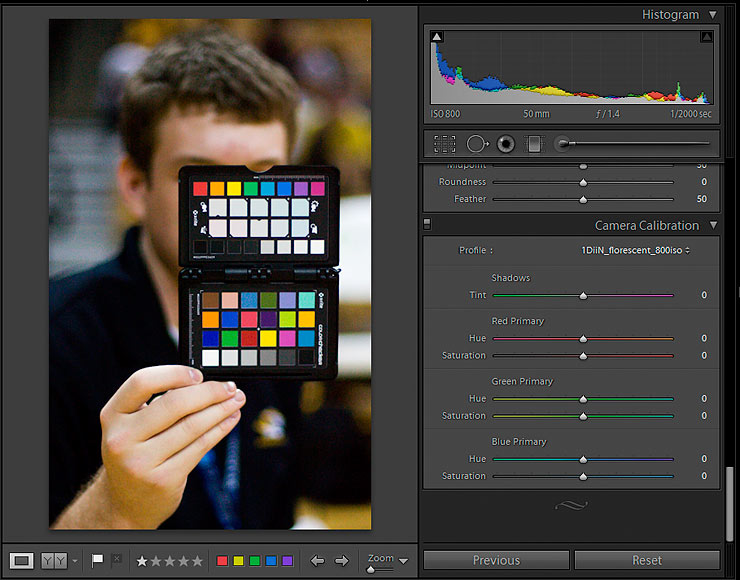 Adobe Lightroom Camera Profile selection