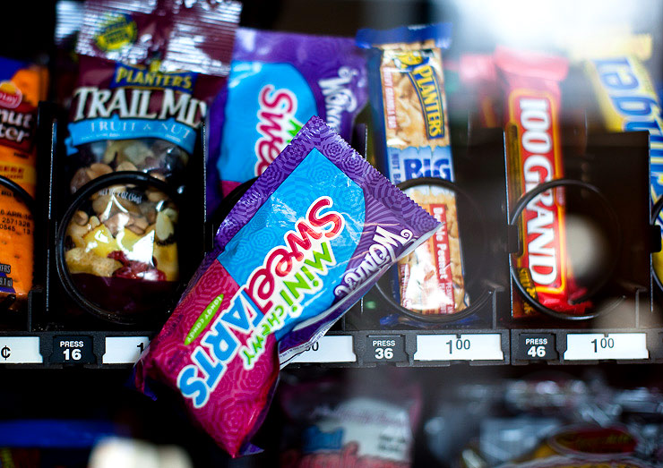 Ah...her Sweetarts were stuck in the vending machine!