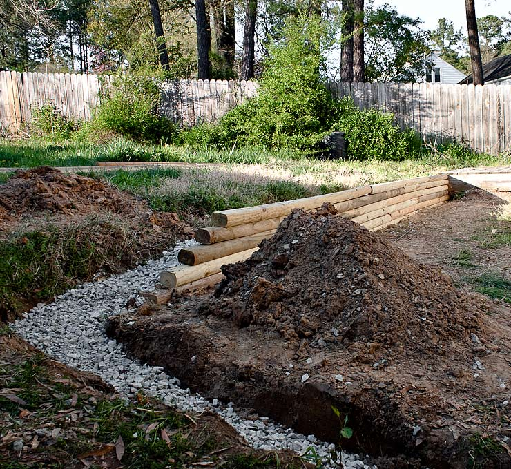 Another view of the French drain