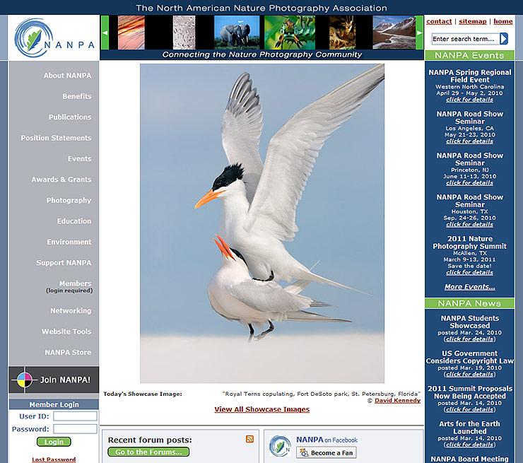 NANPA's Web site screen capture