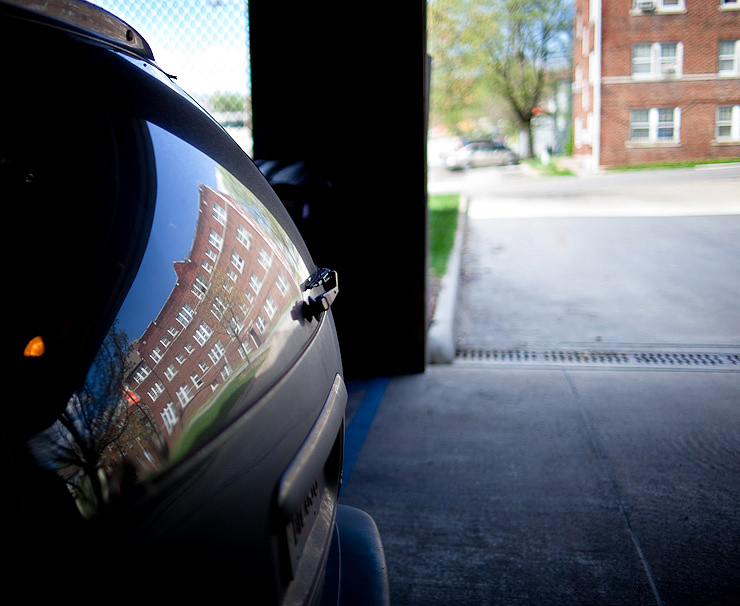 Parking garage reflection
