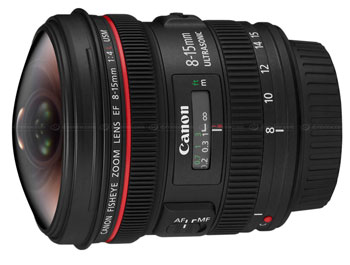 Canon 8-15mm f/4L fisheye zoom lens.  Image from DPReview.com.