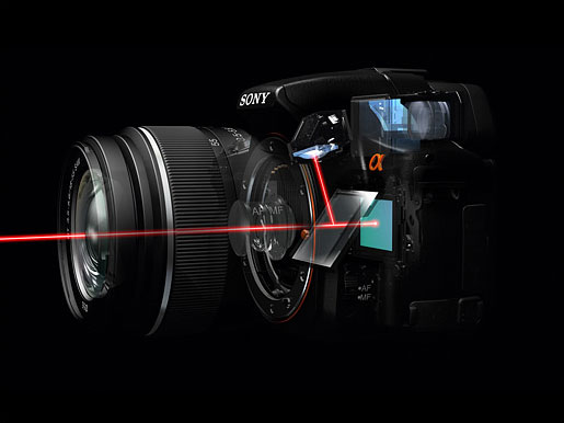 The Sony pellicle mirror diverts 30% of the incoming light to a phase-detect autofocus sensor. Image from DPReview.com.