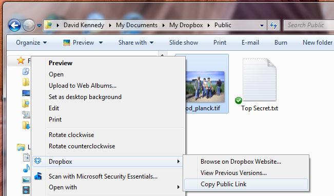 Dropbox - Copy the public link