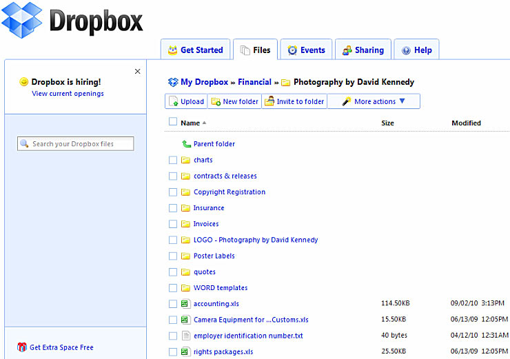 Dropbox Web interface