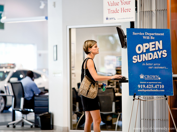 Weighing the options, Crowne Honda, Durham, N.C. | Canon 5D Mark II and 135mm f/2L | Exposed 1/400 sec. @ f/2, ISO 400.