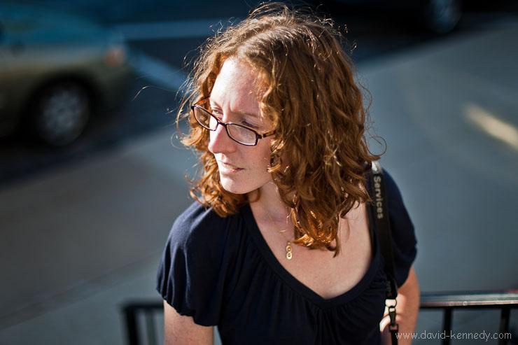 Erin Schwartz standing on the steps to the Elks Club
