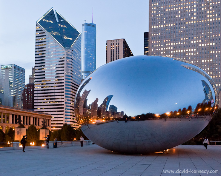 Cloud Gate sculpture, Millennium Park, and the Chicago skyline at twilight