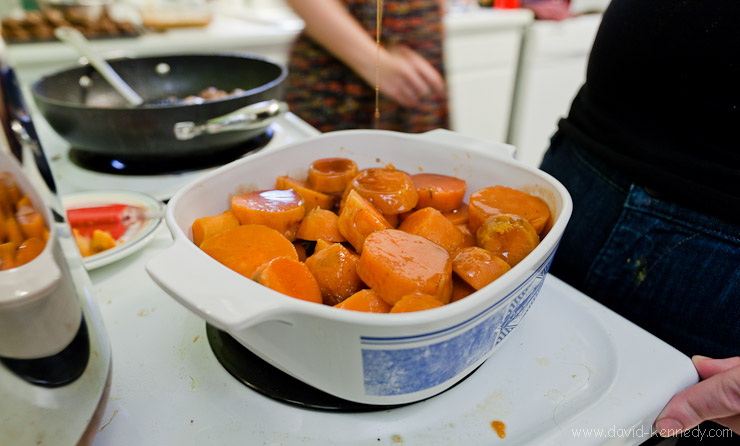 Rum-glazed sweet potatoes