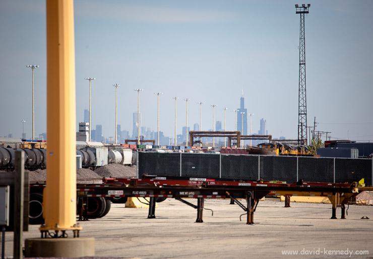 Train yard and Chicago skyline