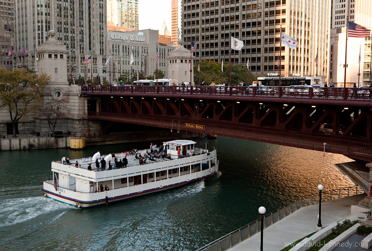 "Wendella Boats' ""Linnea"" passes under the DuSable Bridge"