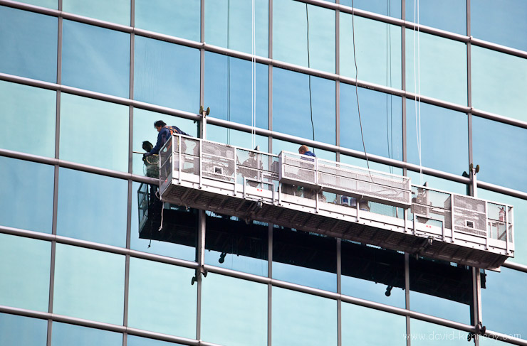 Window cleaning crew on 333 W. Wacker Drive