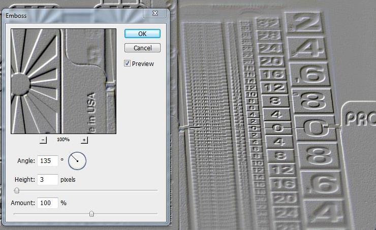Photoshop Emboss Filter Dialog
