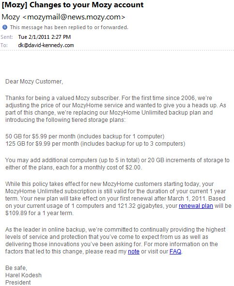 E-mail from Mozy