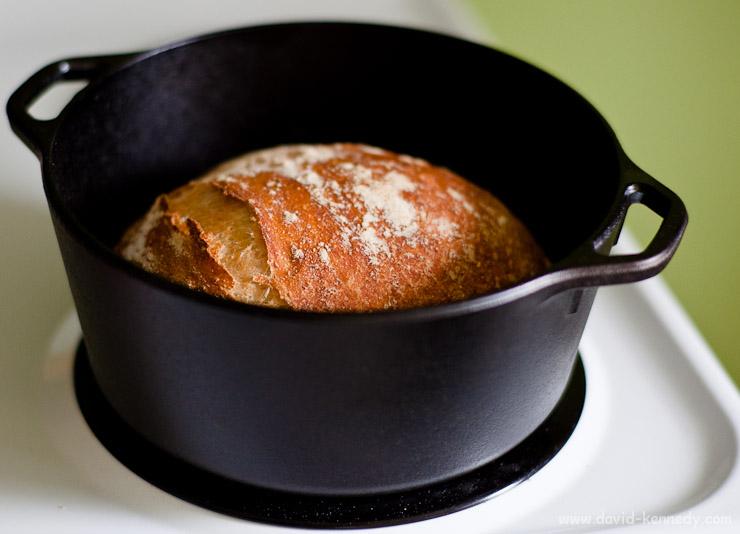 No Knead Bread in a cast iron Dutch oven