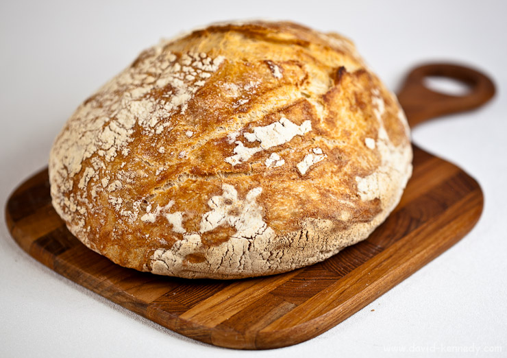 """My third attempt at """"No Knead Bread"""" yielded this beautiful, rustic boule."""