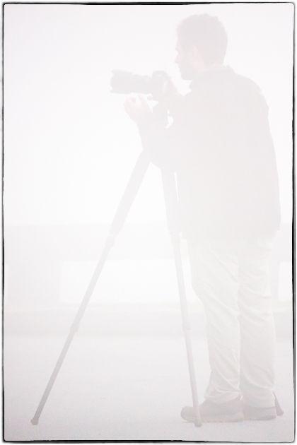 David in fog, Blue Ridge Parkway, 2012