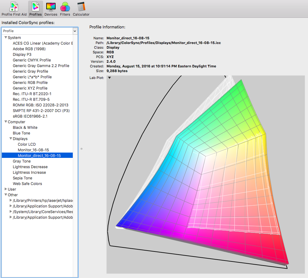 Direct-to-laptop monitor profile (color) compared to the Adobe RGB colorspace (white wireframe)