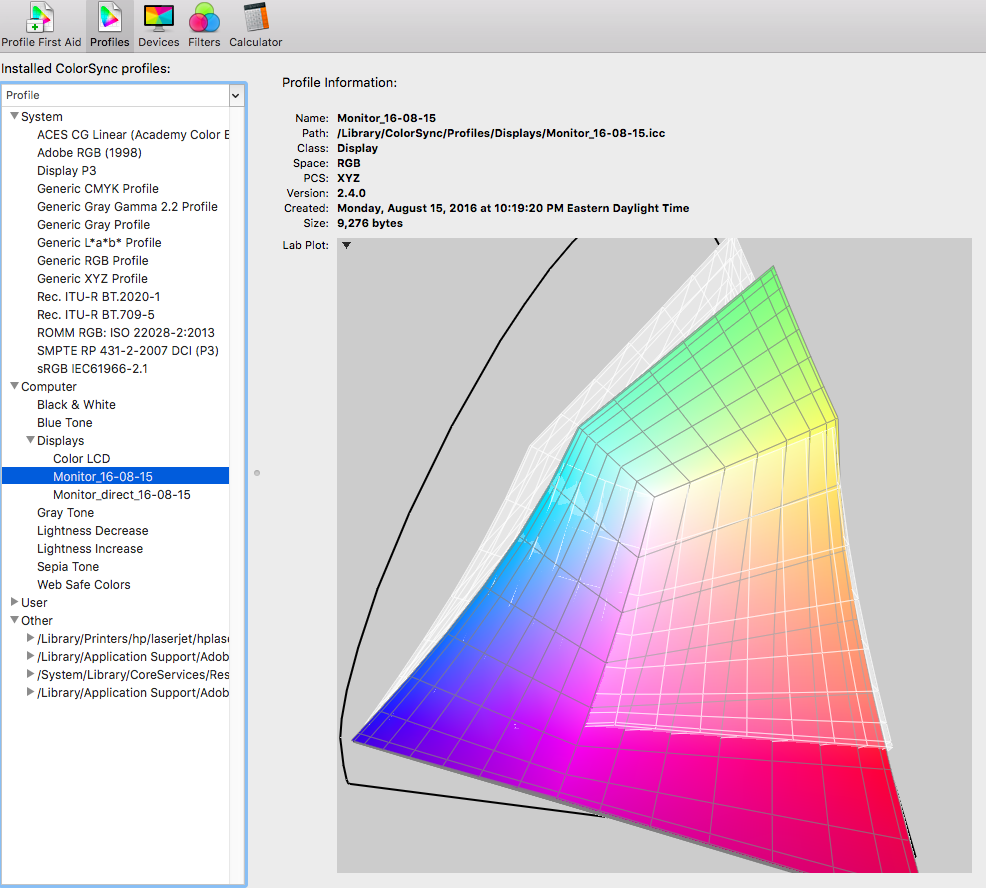 Dock-connected monitor profile (color) compared to the Adobe RGB colorspace (white wireframe)