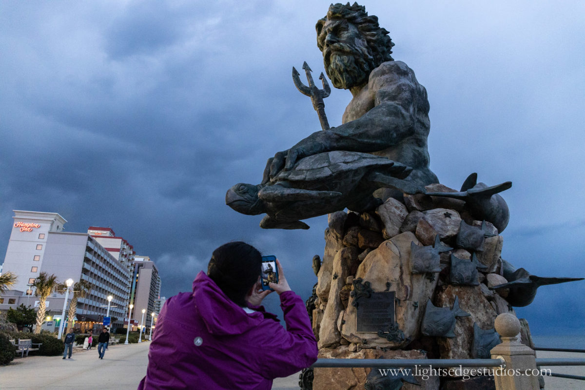 King Neptune overlooks a storm coming in at the Virginia Beach boardwalk. Photographed with a Canon EOS R and Canon 24-70 f/4L IS lens with EF to RF adapter